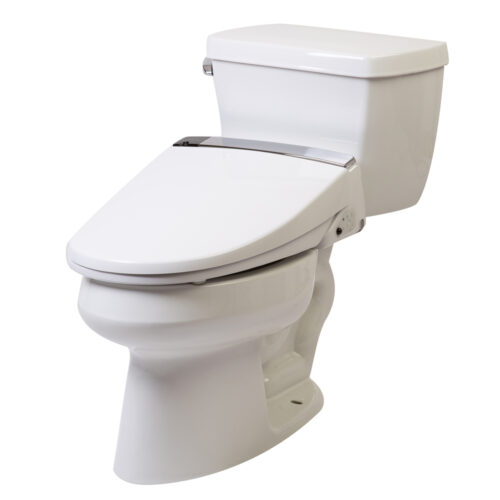 Clear Water Bidets, Novita BH90 mounted on toilet angle right