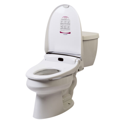 Clear Water Bidets, Novita BH90 with remote control mounted on toilet image.