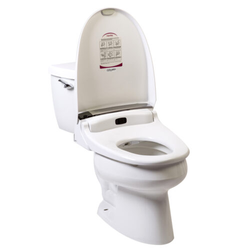 Clear Water Bidets, Novita BH90 mounted on toilet with lid open