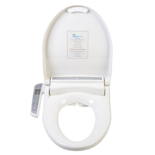 Clean Sense 1500 bidet seat shown with lid open.