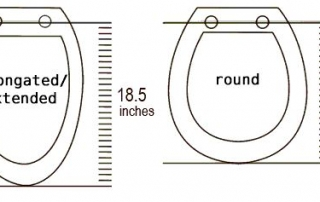 Image showing dimensions of round and elongated toilet seats