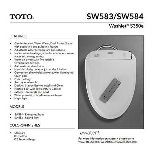 Toto Washlet toto s350e washlet from clear water bidets